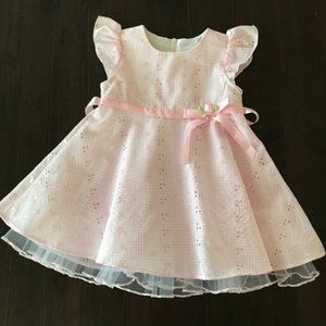 Bonnie Baby Pink Eyelet Dress Special Occasions